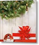 Holiday Wreath With Snow Globe  Metal Print