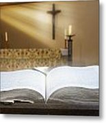 Holy Bible In A Church Metal Print