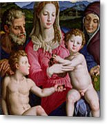 Holy Family With St Anne And The Infant St John The Baptist Metal Print by Agnolo Bronzino