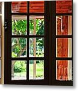 Home Garden Through Window Metal Print