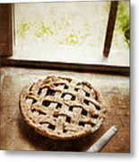 Home Made Pie Cooling By Open Window Metal Print