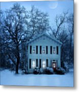 Home On A Wintery Evening Metal Print