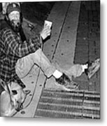 Homeless With Faithful Companion Metal Print