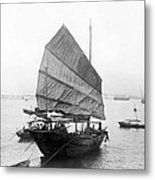 Hong Kong Harbor - Chinese Junk Boat - C 1907 Metal Print