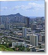Honolulu And Diamond Head Metal Print