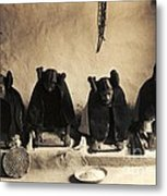 Hopi Girls Grinding Corn Metal Print