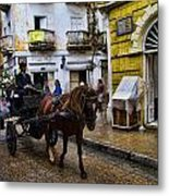 Horse And Buggy In Old Cartagena Colombia Metal Print by David Smith