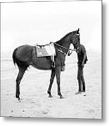 Horse And Man On The Beach Black And White Metal Print