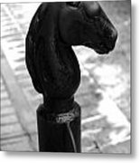 Horse Head Pole Hitching Post French Quarter New Orleans Black And White Metal Print