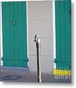 Horse Head Post With Green Doors Metal Print