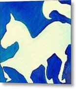 Horse In Blue And White Metal Print