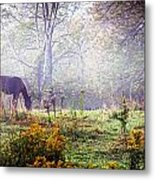 Horse In The Mist Metal Print