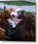 Horse Racing Horses Breaking From The Metal Print