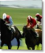 Horse Racing, Ireland Jockeys Racing Metal Print