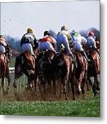 Horse Racing Rear View Of Horses Racing Metal Print