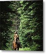 Horseback Riding On An Emerald Lake Metal Print