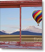 Hot Air Balloon And Longs Peak Red Rustic Picture Window View Metal Print