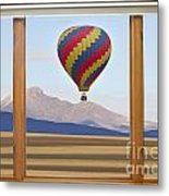 Hot Air Balloon Colorado Wood Picture Window Frame Photo Art Vie Metal Print