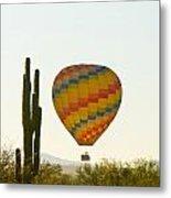 Hot Air Balloon In The Arizona Desert With Giant Saguaro Cactus Metal Print