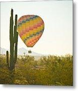 Hot Air Balloon Over The Arizona Desert With Giant Saguaro Cactu Metal Print