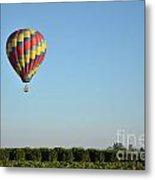 Hot Air Balloon Over Vineyard Metal Print
