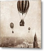 Hot Air Balloons Over 1949 New York City Metal Print