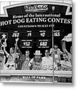 Hotdog Eating Contest Time In Black And White Metal Print