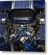 Hotrod Engine In Blue Metal Print