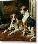 Hounds In A Stable Interior Metal Print