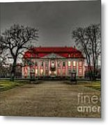 House Illuminated And With Trees Branches Metal Print