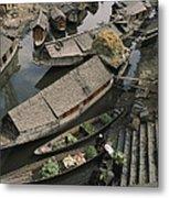Houseboats Line A Waterway Metal Print