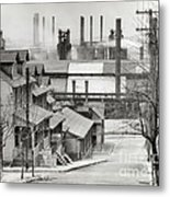 Houses And Steelmill Metal Print