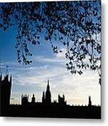 Houses Of Parliament Silhouette Metal Print