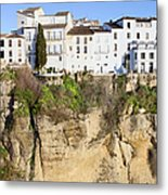 Houses On A Cliff In Ronda Town Metal Print