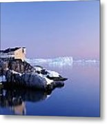 Houses On The Coastline With Icebergs Metal Print