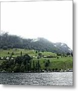 Houses On The Greenery Of The Slope Of A Mountain Next To Lake Lucerne Metal Print