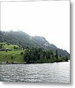 Houses On The Slope Of A Mountain Next To Lake Lucerne Metal Print