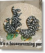 Housewarming Invitation - Black And White Chickens Figurines Metal Print