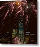 Hudson River Fireworks X Metal Print by Clarence Holmes
