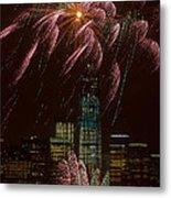 Hudson River Fireworks X Metal Print