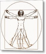 Human Body By Da Vinci Metal Print