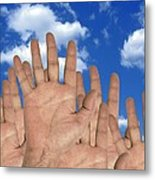 Human Hands And The Sky, Conceptual Image Metal Print