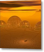 Human Settlement On Alien Planet Metal Print