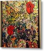 Hummingbird And Roses Metal Print