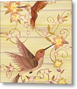 Hummingbirds - Wood Art Metal Print by Vincent Doan