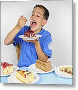 Hungry Boy Eating Lot Of Cake Metal Print