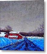 Hunterdon County Barns In Winter Metal Print