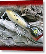Husband Anniversary Card - Saltwater Fishing Lure - Popper Metal Print