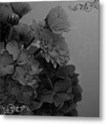 Hydrangea Boquet Black And White Metal Print
