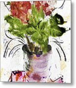 Hydrangea In A Pot Watercolor Metal Print
